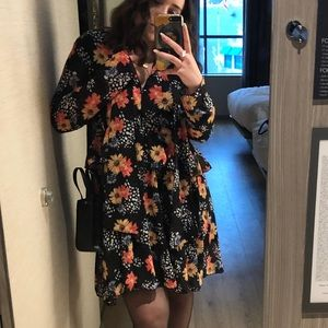 ASOS FLORAL DRESS WITH PUSSY BOW